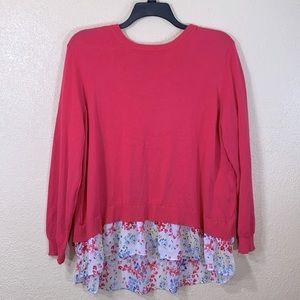 Time and Tru Sweater Blouse Layered XL 16/18 Pink